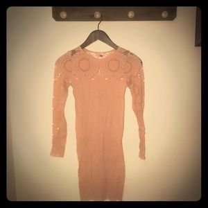 Peach pink stretchy cutout patterned dress